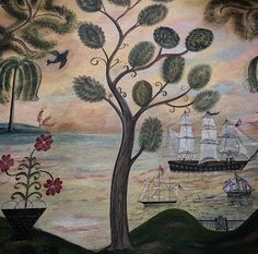 Kolene Spicher: Rufus Porter Style Wall Panel Post 3 By Kolene Spicher in Rufus Porter Style Painting Primitive Painting, Historical Art, Historical Illustrations, Floor Cloth, House Painting, Painting Walls, American Art, Early American, Paint Designs