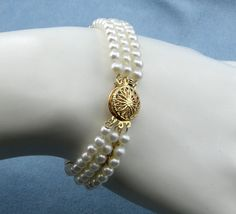 Elegant 3-Strand Pearl Bracelet w/14K by diamondmastersuscoin