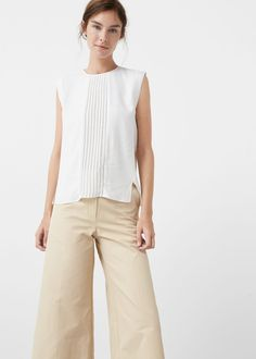 Pleated panel top - Shirts for Woman | MANGO United Kingdom