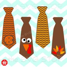 Thanksgiving Turkey Ties SVG and studio files for Cricut, Silhouette, Vinyl Cutters and Screen Printing