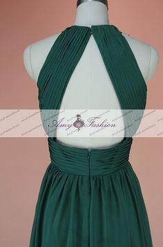 Dama verde esmeralda Backless vestido de fiesta largo por GraceGown
