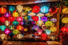 Asia lantern in Hoi An city, Vietnam Hanging Lanterns, Paper Lanterns, Color Symbolism, Image Deco, Beautiful Vietnam, Cap Vert, Summer Deco, Chinese Lanterns, Hoi An