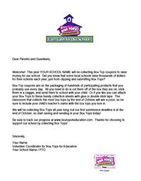 Introduction Letter for Parents for the Box Tops Program