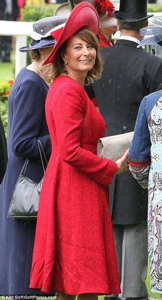 The colour of Carole's dress was reminiscent of the red worn by Kate for the Jubilee flotilla
