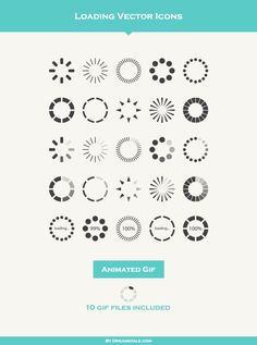 Simple flat loading vector icons created with Adobe Illustrator. Web Design, Icon Design, Logo Design, Graphic Design, Loading Icon, Icon Gif, Ui Animation, Ui Design Inspiration, Personal Branding