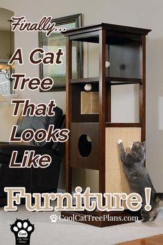 Elegant Cherry Wood Cat Tower Activity Center - Finally, a cat tree that looks like furniture! Diy Cat Tower, Cat Tree Plans, Cool Cat Trees, Wood Cat, Cat Towers, Cat Shelves, Pet Furniture, Modern Furniture, Cheap Furniture