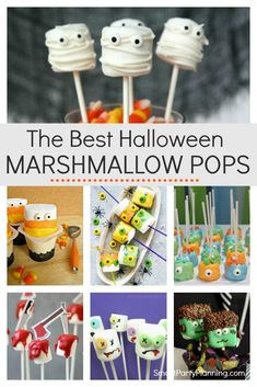 Learn how to make 8 of the best easy and fun Halloween marshmallow pops. Simple chocolate dipped marshmallows with a mixture of sprinkles and other candy attached. These are going to become the kids favorite Halloween treats. Marshmellow Treats, Marshmallow Halloween, Chocolate Dipped Marshmallows, Halloween Cake Pops, Marshmallow Dip, Halloween Treats For Kids, Halloween Baking, Easy Halloween, Halloween Recipe