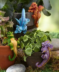 The Set of 2 Whimsical Dragon Pot Huggers proves that even mythical beasts have a soft spot. Each vibrant figurine easily hangs off the side of your planter as Unique Garden Decor, Unique Gardens, Dragon Garden, Garden Signs, Backyard Projects, Solar Lights, Yard Art, Backyard Landscaping, Flower Pots