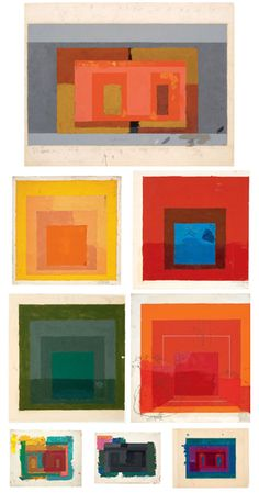 Josef Albers - worked at bauhaus in Germany  He is very interested in colour and how the different colours resonate with each other and create depth