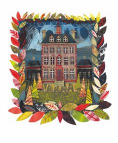 Ashdown Park House, Oxford' collage- Ed Kluz Art Greeting Card Down To Earth Cards Great Paintings, Beautiful Paintings, Naive, Creative Activities For Kids, Park Homes, Children's Book Illustration, Collage Art, Collages, Home Art
