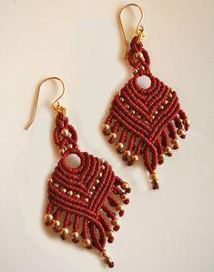 maroon and gold earrings macrame earrings tribal by yasminsjewelry