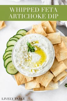 This flavorful whipped feta artichoke dip made healthier with Greek yogurt is easy to make and perfect as a gluten-free spring or summer appetizer! Your vegetarian friends will love it!