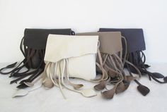 cream white  leather handbag hip bag belt bag with leaf by tuscada