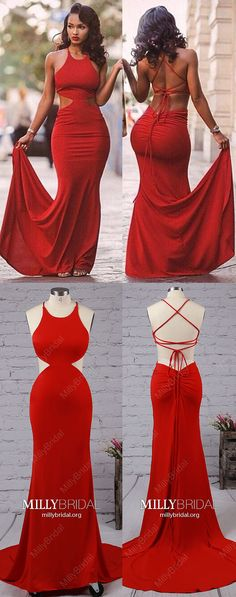 Red Prom Dresses,Long Prom Dresses For Teens,Jersey Prom Dresses Mermaid,Modest Prom Dresses with Ruffles