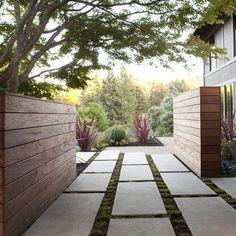 modern wood panels, modular concrete paving
