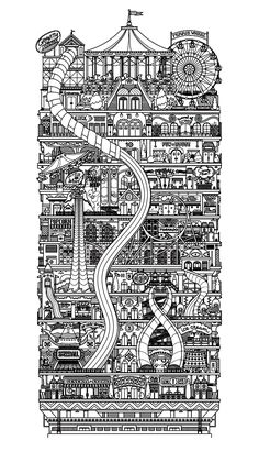 Free coloring page coloring-architecture-city-vertical. Drawing of a strange and vertical city Printable Adult Coloring Pages, Free Coloring Pages, House Colouring Pages, Coloring Books, Tachisme, Vertical City, Illustrations, Amusement Park, Oeuvre D'art