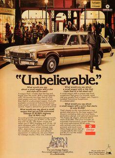 1976 Ad Aspen Dodge Wagon Chrysler Corp Motor Vehicle Vintage Automobile NYM1