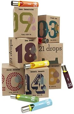 21 Drops #packaging - essential oils, each number corresponds w/ an emotion or feeling you're trying to increase or combat. I love them!