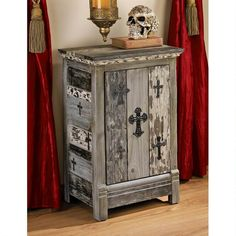 The Design Toscano Gothic Sanctuary Side Table Cabinet has a gothic flair that's going to be right at home in your spooky space. Gothic Furniture, Classic Furniture, Nice Furniture, Dream Furniture, Bedroom Furniture, Hardwood Table, Gothic Bedroom, Reproduction Furniture, Wooden Cabinets