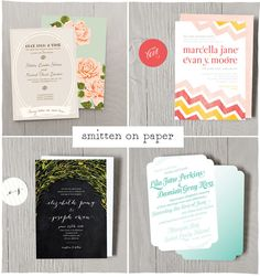 Pretty Wedding Invitations by Smitten on Paper