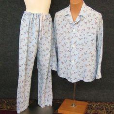 Men's 30s 40s Vintage Rayon Pajama Set, Blue Forty Winks Counting Sheep Print, Long Sleeve Shirt, Button Fly Pants, Manhattan Shirt Co Sz B