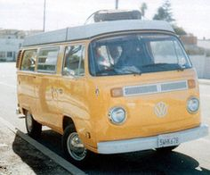 vw bus in orange...we had one of these when I was a kid. And, man! Did your face ever stick to those vinyl seats when you fell asleep in the Florida humidity....good times. I wish my parents still had it so I can snatch it away from them!