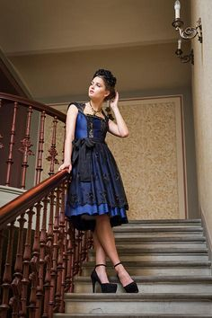Dark blue couture dirndl