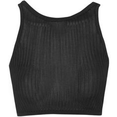 TOPSHOP Premium Ribbed Loungewear Cami (180 BRL) ❤ liked on Polyvore featuring tops, crop tops, black, cropped camisole, topshop, black camisole, black cami and cropped cami