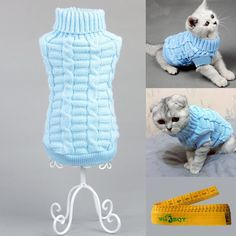 Knitted Braid Plait Turtleneck Sweater Knitwear Outwear for Dogs and Cats (Light Blue, S) *** New and awesome cat product awaits you, Read it now  : Cat Apparel