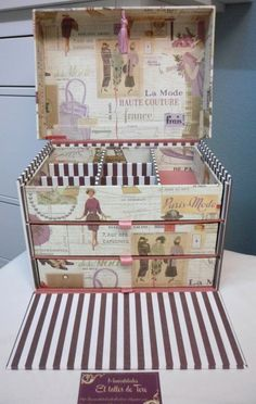 Cardboard Box Crafts, Cardboard Paper, Paper Crafts, Diy Home Crafts, Diy Craft Projects, Cigar Box Crafts, Fabric Covered Boxes, Sewing Box, Craft Box