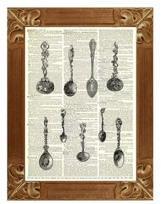 Kitchen art wall decor Victorian Spoons Print Poster by PrintLand
