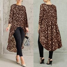 Buy it before it ends. There is always many products on sae upto - ZANZEA 2019 Women Blouse Printed Leopard Tops Autumn Fashion Long Sleeve Shirts Female Asymmetrical Blusas Oversized Woman Tunic - eTrendings Dressy Tops, Dressy Casual Women, Casual Tops For Women, Blouses For Women, Women Tunic, Blusas Oversized, Mode Hijab, Blouse Styles, Shirt Blouses