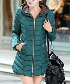 Casual Style Hooded Long Sleeve Spliced Zippered Color Block Women's Coat