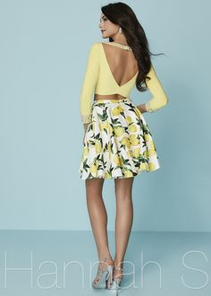 Two Piece Bateau Neck Long Sleeves Yellow V Back Brocade Print Prom Dress