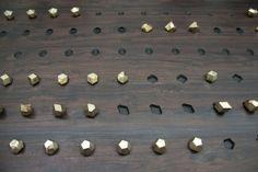 "genevieve chua art basel  72, 2013 brass ""dice"" and board"