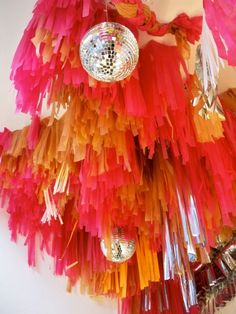 Ceiling decorations - disco balls and fringe!