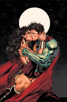 The Kiss (Superman & Wonder Woman) - Pencils by Jim Lee, Inks by Inkist, Colors by Billy Van Comic Book Artists, Comic Book Characters, Comic Artist, Comic Character, Comic Books Art, Superman Photos, Superman Artwork, Batman Vs Superman, Wonder Woman Y Superman
