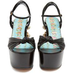 Gucci Allie embellished-heel platform sandals (21,640 MXN) ❤ liked on Polyvore featuring shoes, sandals, black strap sandals, strappy leather sandals, embellished sandals, leather strap sandals and black strappy sandals