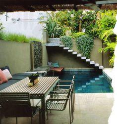 Small pool and Patio Urban Garden Design, Outdoor Rooms, Outdoor Gardens, Outdoor Living, Indoor Outdoor, Kleiner Pool Design, Small Pool Design, Courtyard Design, Courtyard Pool