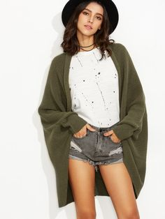 Olive Green Shawl Collar Open Front Cocoon Cardigan -SheIn(Sheinside) Mobile Site