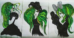 green alien girls