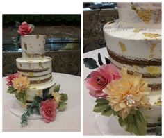 cake with flowers and by Edible Gold Leaf, Gourmet Cakes, Wafer Paper, Glass Slipper, Vanilla Cake, Wedding Cakes, Desserts, Flowers, Food