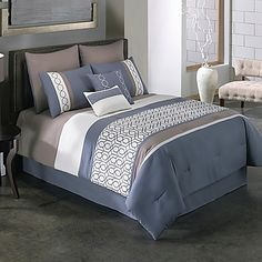 Get this Covington Modern Chic Bedding Set, which features colors like white, grey, dark blue, and brown colors on it along with a unique design and pattern. Luxury Duvet Covers, Luxury Bedding Sets, Chic Bedding, Blue Bedding, Home Bedroom, Diy Bedroom Decor, Home Decor, Girls Bedroom, Bedroom Ideas