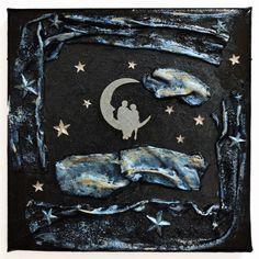Dream on the high (Álom a magasban) - 20 x 20 cm, 2018 Hold On, Textiles, Moon, The Moon, Naruto Sad, Fabrics, Textile Art
