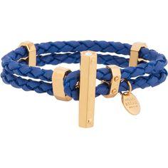 Henri Bendel Southampton Leather Bracelet ($68) ❤ liked on Polyvore featuring jewelry, bracelets, blue, leather jewelry, henri bendel bangle, blue bangles, henri bendel and blue jewelry