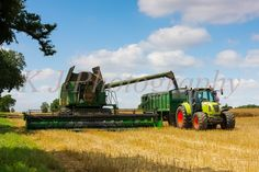 John Deere Combine Harvester & Claas tractor,  UK farming Photography