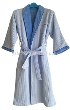 8f54d1f848 Classic Terry Cloth   Waffle shawl collar double layers Spa Robe in light  blue