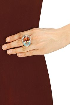 Rhodium plated citrine stone turquoise enamel ring by Bansri. Shop now: http://www.perniaspopupshop.com/designers/bansri #ring #bansri #shopnow #perniaspopupshop