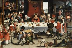Jan Mandijn (or Mandyn) (Haarlem, The Netherlands, 1502 - Antwerp, Belgium, 1560) Burlesque Feast Datec.-1550  Top right hand corner, boy stirring pot and one turning spit and two people working in back, also kitchen equipment and links