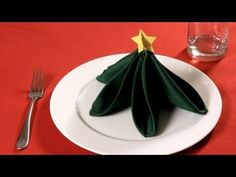 How to Fold a Napkin into a Christmas Tree | Napkin Folding - YouTube